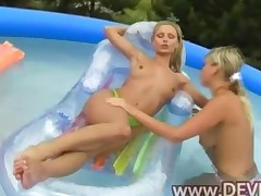 Blondes Dildoing Holes In The Pool