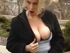 Hot Big Boobs Blonde Public Upskirt