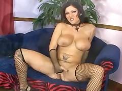 Busty Brunette Anal Fucking In Fishnet Stockings