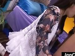 Stockinged Asian Girl Gets Ass Fucked Upskirt