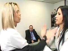 Catfight Turns To Secretary Office Threesome
