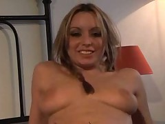 Monella with pigtails takes in all her holes