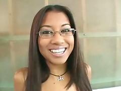 Glasses girl striptease and cute body fondling