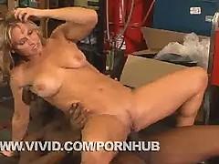 Savanna Samson taking some Big Black Cock In a Bike Shop
