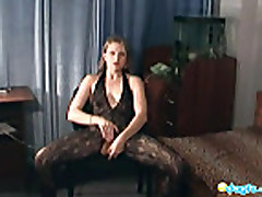 Rufina on crotchless fishnet solo action