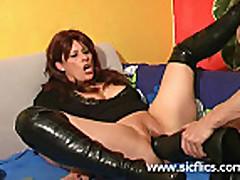 Gigantic dildo fucking slut has her cunt obliterated