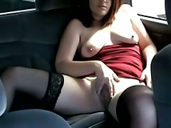 Playing with herself in the car