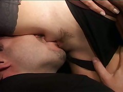 He licks ass and she sucks cock in bathroom