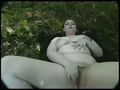Fat BBW Teen masturbating her Hairy Pussy in the Wood