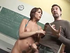 Gangbang of a slut in the classroom