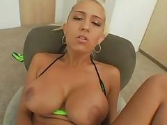 Young blonde bikini slut POV interracial sex