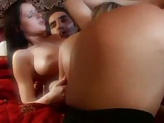 Dreamy threesome stars hot stockings sluts