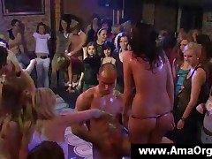 Naked Party Chicks Having Fun With A Sexy Stripper