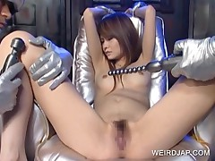 Redhead Asian Slave Gets Hairy Cunt Vibrated