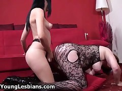 Nasty Old Bitch Gets Fucked From Behind From A Hot Brunette With Strep On By OldNYoungLesbians