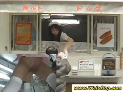 Naughty Japan Waitress Gets Slit Rubbed Upskirt