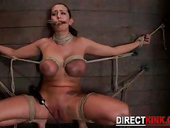 Tied Kinky Slut Squeezes Her Perfect Natural Tits While Being Ed A Huge Hard Stick Into Her Tight An