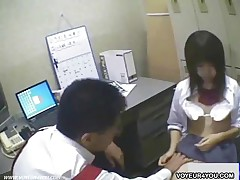 Japanese Teens Take Off Their Clothes Inside Of Store Owner Office Room