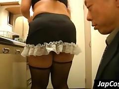 Big Assed Japanese Waitress Gets Ass Licked Upskirt