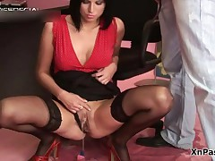 Skanky Brunete Slut In Sexy Black Stockings Taking A Piss In The Office By XNPass