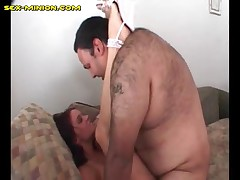 Brunette Sucks And Fucked By A Chubby Guy