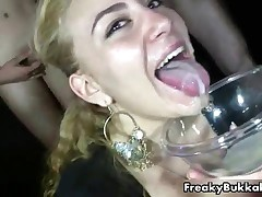 Blonde Slut From Spain Gets Covered With Cum In This Bukkake Gangbang By FreakyBukkake