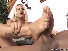 Riley Evans - Busty Babe Giving Footjobs