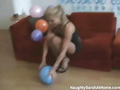 Naughty Sarah - Blonde Babe Messing With Balloons