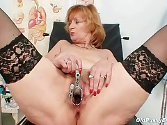 Kvetuse - Redhead Granny Dirty Pussy Stretching In Gyn Clinic