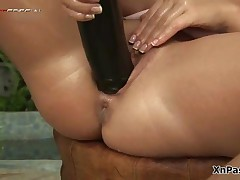Blonde Slut Loves Fucking Her Pussy With A Huge Black Dildo By XNPass