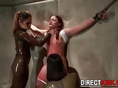 Nasty Lesbians Tied Up Hot Innocent Brunette Babe  Fingering And Toying Her Tight Pussy While Strugg