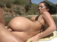 Jayden Jaymes having sex on a boat, in nature