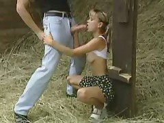 Teen fucked and jizzed in the barn