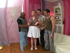 French brunette mature with 3 men