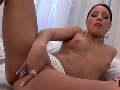 Brunette Aneta Keys licks her nice sexy nipples