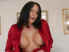 Milf brunette Carly G is fucking on a sofa