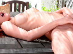 Cute redhead beauty Candice Luca loves her shaved puss