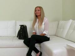 Blonde Jenna was fucked on the white sofa