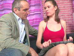 Young brunette Arina is sucking teacher's dick