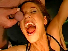 Innocent cutie with nice face is swallowing cum
