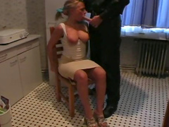 Sexy blonde submits for sex and bondage