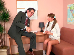 Sexy schoolgirl Samantha is sucking a dick