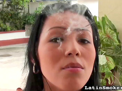 Smoking girl with soft lips