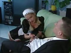Skinny maid jerks off her boss