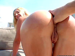 Smooth ass on blonde outdoors