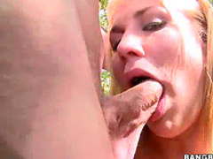 Fresh blonde blows on trail