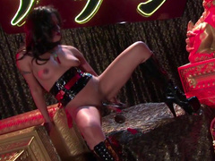 Kaylani Lei is drilling her Japanese puss with dildo