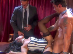 Kaylani Lei in corset with two guys