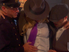 Sexy beauty Jessica Drake is getting hardcore banged by two cocks