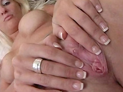 Nasty blonde is getting her pussy pokes with pleasure